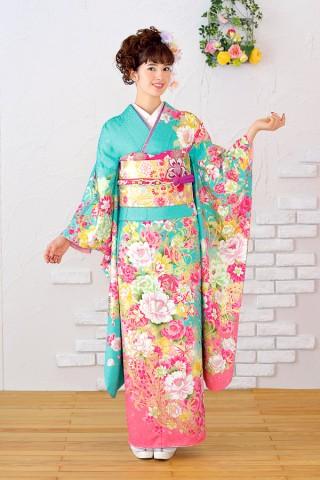 エメラルドグリーン×ピンクに蝶々が飛ぶスウィートなお振袖【Shine 118】の衣装画像1