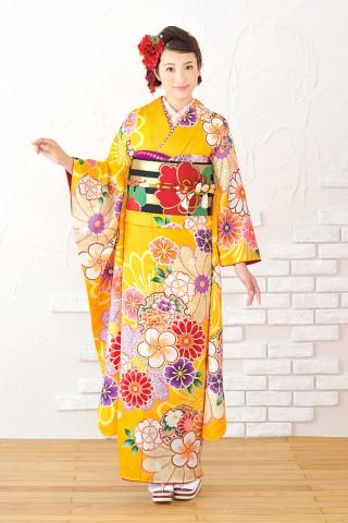 ガーリーの中にも山吹色地と大柄の花でレトロな雰囲気に【Shine 119】の衣装画像1
