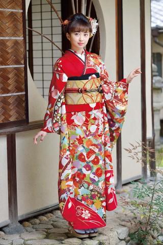 色とりどりの四季の花が華やかなレトロ調のお振袖【Karen-2803】の衣装画像1