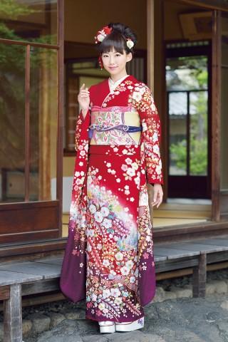 好感度抜群の上品な赤の古典柄【Karen-2807】の衣装画像1