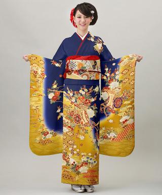 濃紺地裾黄ぼかし花車に扇面の衣装画像2
