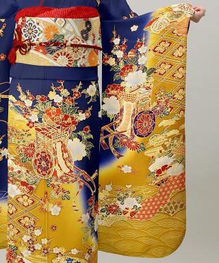 濃紺地裾黄ぼかし花車に扇面の衣装画像3
