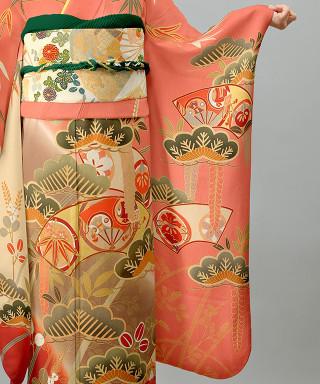 ピンク地に琳派松に萩の衣装画像3