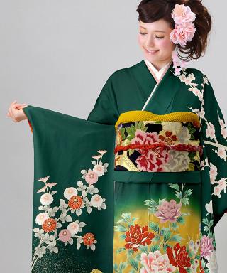 【お仕立前・新品】濃緑に裾金砂子吉祥花
