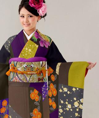 【お仕立前・新品】濃紫と濃茶の染分け草花