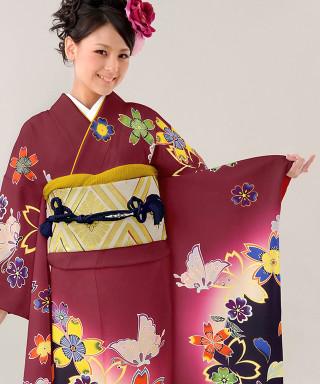 【お仕立前・新品】紫地に濃紺蝶牡丹に梅
