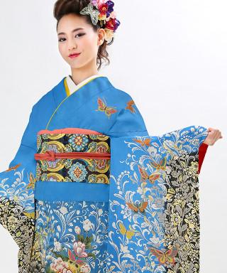 【お仕立前・新品】青色裾黒地に百花