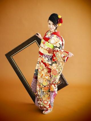 赤/紫、黒鹿の子大のしめ・鈴・菊金刺繍 FU-0270