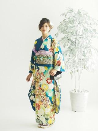 深緑さや方ラメ地模様/紅葉・雪輪花・矢羽・菊 FU-0320