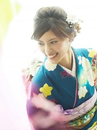深緑さや方ラメ地模様/紅葉・雪輪花・矢羽・菊 FU-0320の衣装画像2