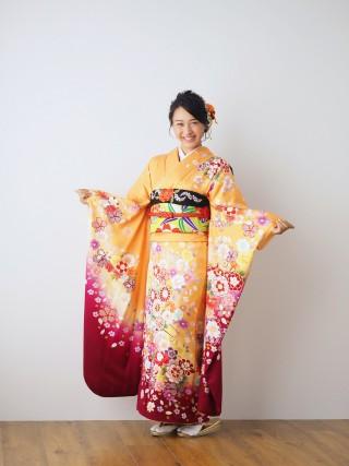 オレンジ・裾小豆色/菊・花車・ぼたん FU-0366