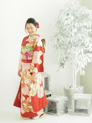 赤 大輪八重菊・八重桜 FU-0475の衣装画像1