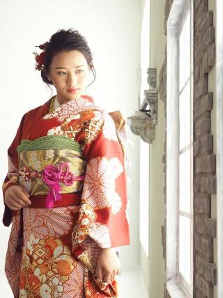 赤 大輪八重菊・八重桜 FU-0475の衣装画像2