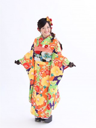 和遊日 黄緑・紫・オレンジ/梅・黄椿・橘・菊 FU-0321/322/323/324