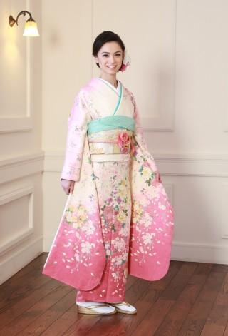 0703437 白地ピンクぼかし 枝垂れ桜