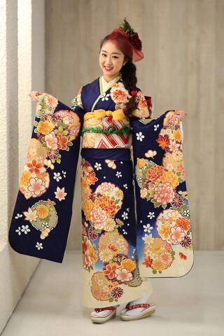 ◆花柄振袖-紺-◆