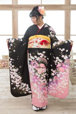 黒白桜模様ピンク M 裄長の衣装画像2