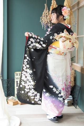 黒白桜模様ピンク M 裄長の衣装画像3
