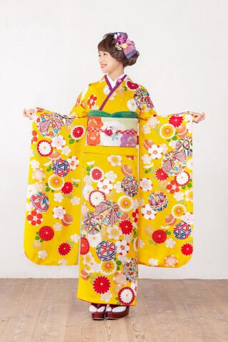 カナリヤ色 手毬花柄文様 品番:【MK-1006】の衣装画像2