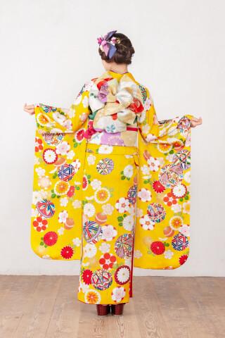 カナリヤ色 手毬花柄文様 品番:【MK-1006】の衣装画像3