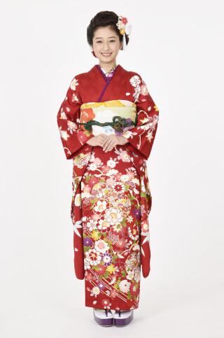 ★赤地に愛らしい桜と毬柄振袖 品番:【MKK-2905】