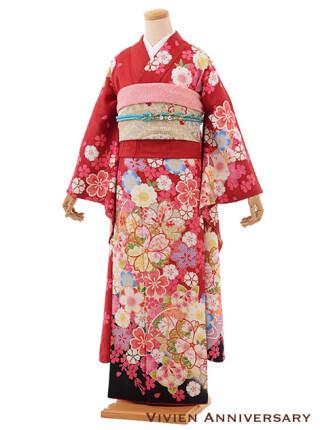 正絹 赤桜模様