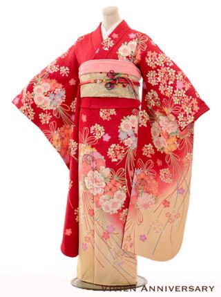 正絹 赤地裾黄色花束